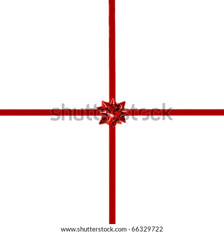 Red gift bow and ribbon on white - centered, square orientation - stock photo