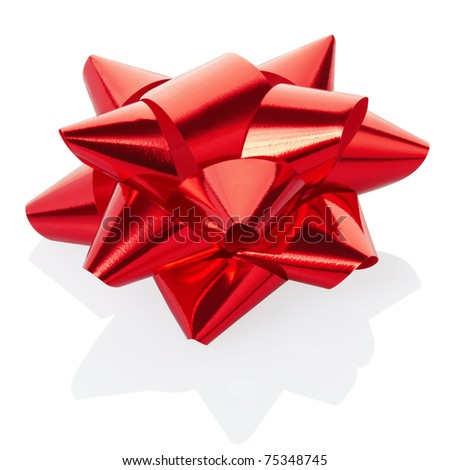 Red gift bow isolated on white, clipping path included