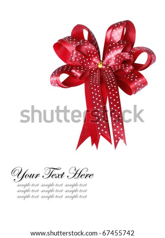 Red gift bow Ribbon Isolated on white - stock photo