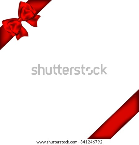 Red gift bow with ribbon.  - stock photo