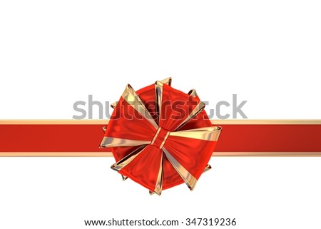 Red gift bow with ribbon isolated on white - stock photo