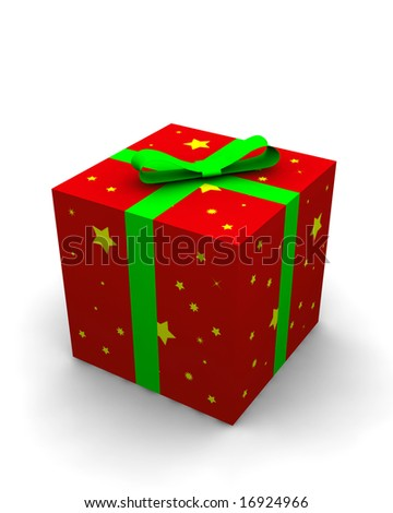 red gift box - 3d isolated illustration