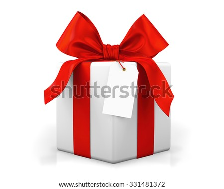 red gift box 3d  render - stock photo