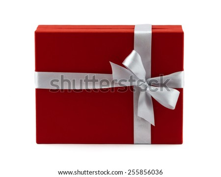 Red gift box decorated white ribbon with bow isolated on white background