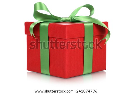 Red gift box for gifts on Christmas, birthday or Valentines day isolated on a white background - stock photo