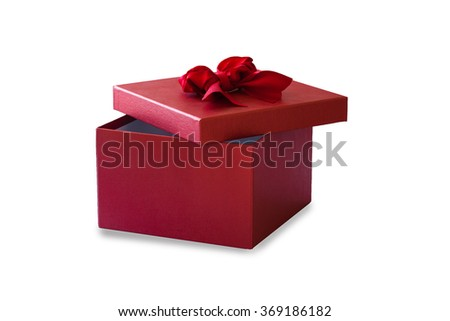 red gift box for someone special occasion on white background - stock photo