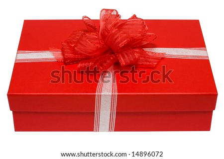 red gift box isolated on white background (isolation path) - stock photo