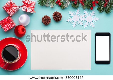 Red gift box on office table. View from above - stock photo