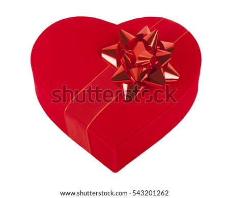 red gift box over white background