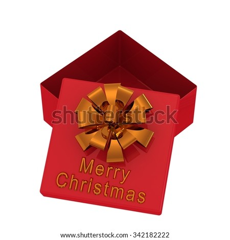 Red gift box with an inscription: Merry Christmas. Isolated on a white - stock photo