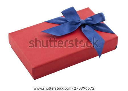 red gift box with blue ribbon