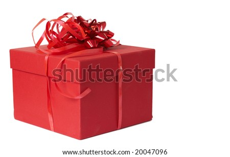 Red gift box with bow isolated on white background with copy space - stock photo