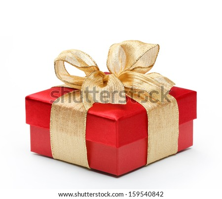 Red gift box with gold ribbon bow, isolated on white background - stock photo