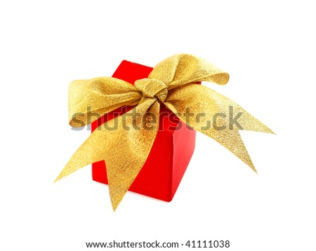 Red gift box with golden bow, isolated on white - stock photo