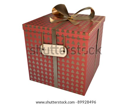 red gift box with golden christmas trees isolated on white - stock photo