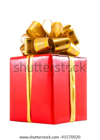 Red gift box with golden ribbon bow, isolated on white - stock photo