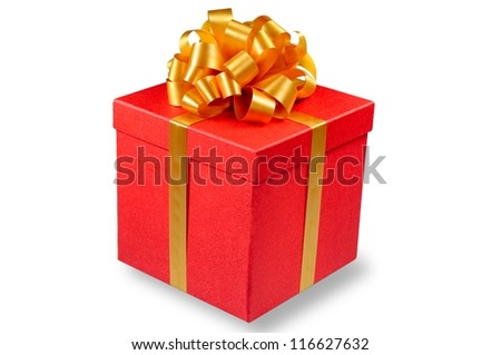 Red gift box with golden ribbon bow isolated on white background - stock photo