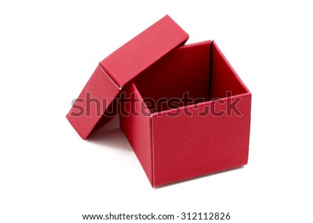Red Gift Box with open cap on Isolated white Background - stock photo