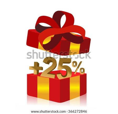 red gift box with 25 percent bonus inside