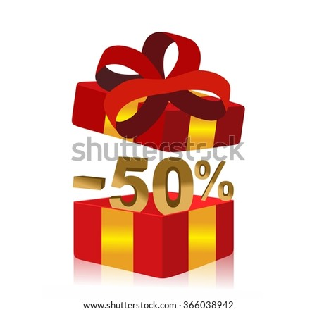 red gift box with 50 percent discount inside - stock photo