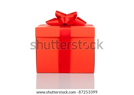 red gift box with ribbon bow isolated on white - stock photo