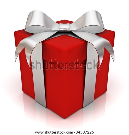 Red gift box with silver ribbon bow isolated on white background - stock photo