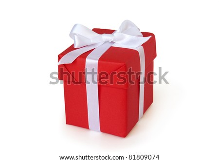 red gift box with white ribbon i - stock photo