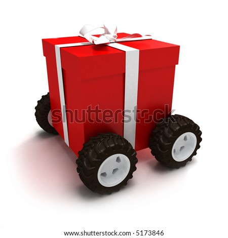 Red gift box with white ribbon on wheels - stock photo