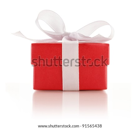 Red Gift Box Wrapped with a White Ribbon on White Background - stock photo