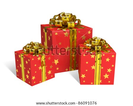 Red gift boxes. Image contains outline path.