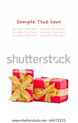red gift boxes isolated on white