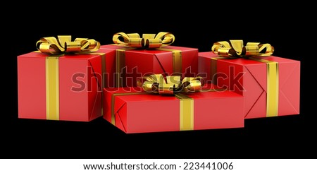 red gift boxes with golden ribbons isolated on black background - stock photo