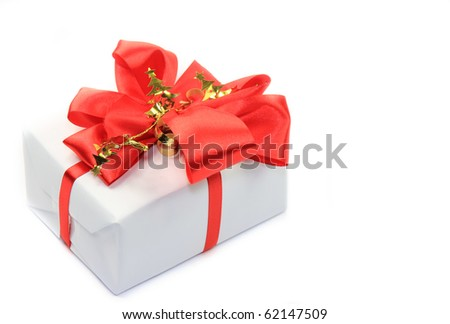 Red gift on white background
