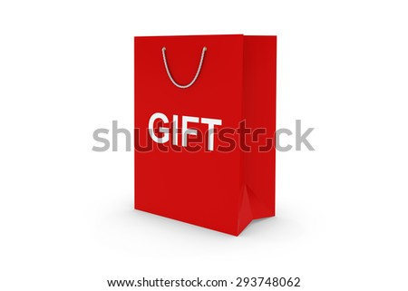 Red GIFT Paper Shopping Bag Isolated on White