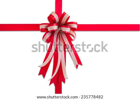 Red gift ribbon and bow, isolated on white background