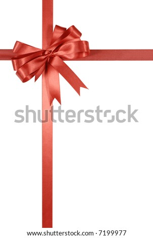 Red gift ribbon and bow vertical isolated on white background
