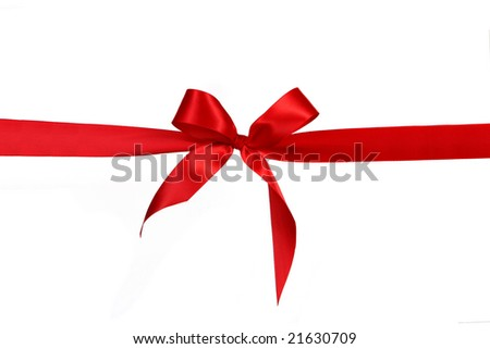 Red Gift Ribbon Bow in Horizontal Placement Over White Background Easily Isolated for Your Project - stock photo