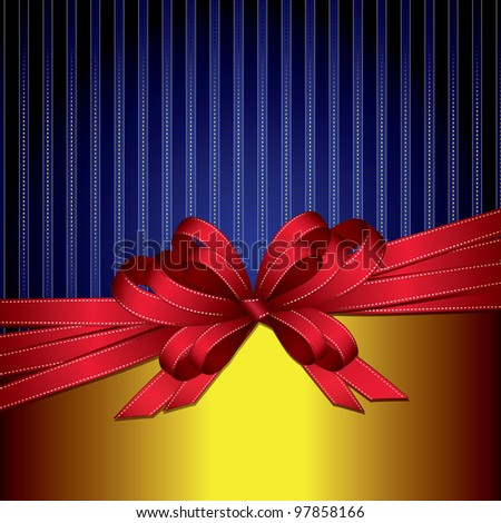 red gift ribbon bow on gold and blue background  (also available vector version) - stock photo