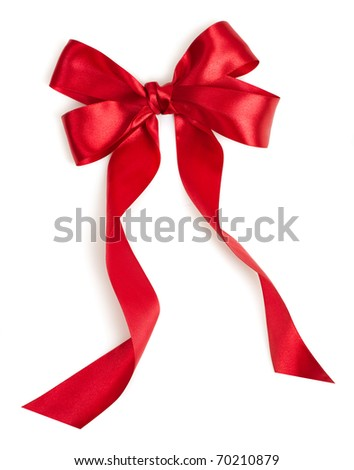 Red gift ribbon bow on white background - stock photo