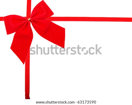 Red Gift Ribbon on White Background Easily Isolated for Your Project - stock photo