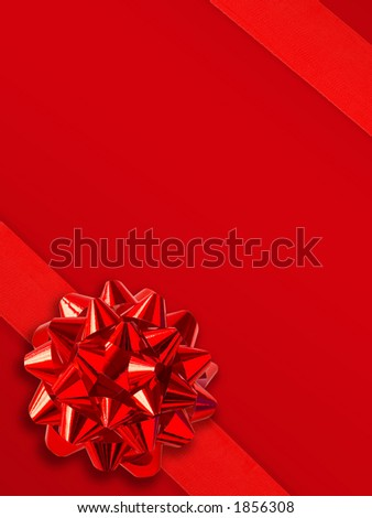 Red Gift Ribbon Over Solid Background (Space For Text)