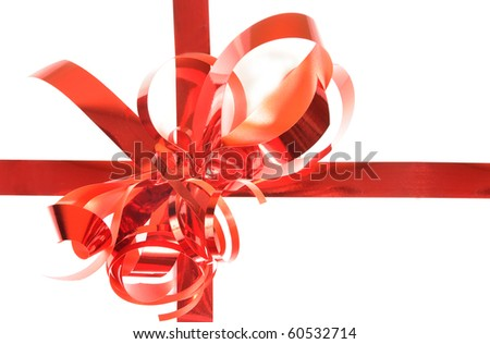 Red gift ribbon with bow isolated on white background - stock photo