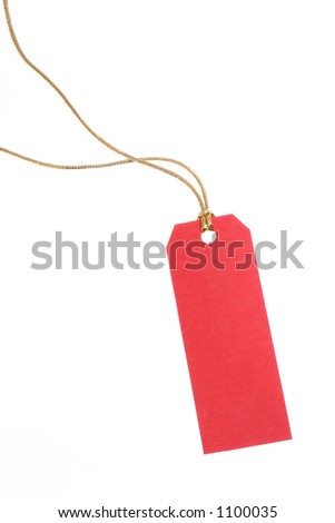 Red gift tag with golden rope against white background