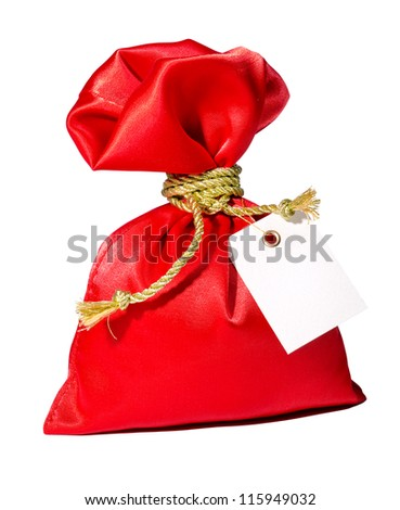 Red gift with label for your design - stock photo