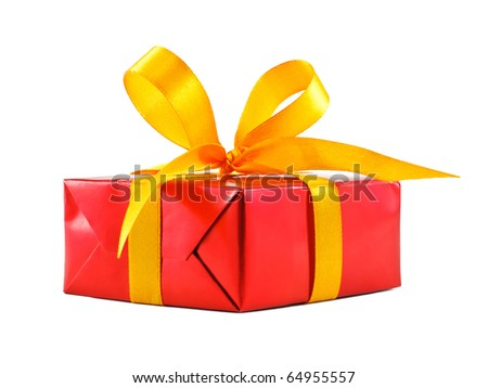 Red gift wrapped present with yellow satin ribbon bow isolated on white - stock photo