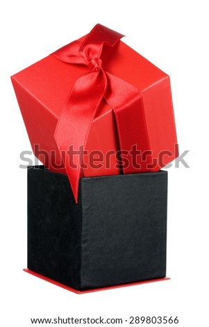 Red Giftbox on White Background
