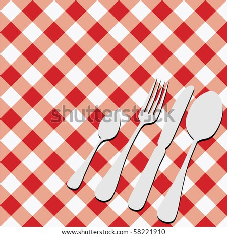 Red Gingham Menu Card - stock photo