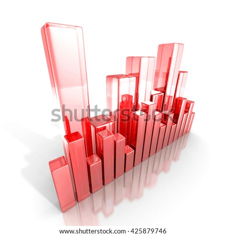 Red glass business bar graph diagram. 3d render illustration - stock photo