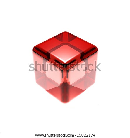 red glass cube isolated - stock photo