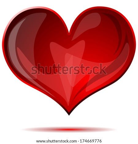 Red glass heart isolated on white background.  - stock photo